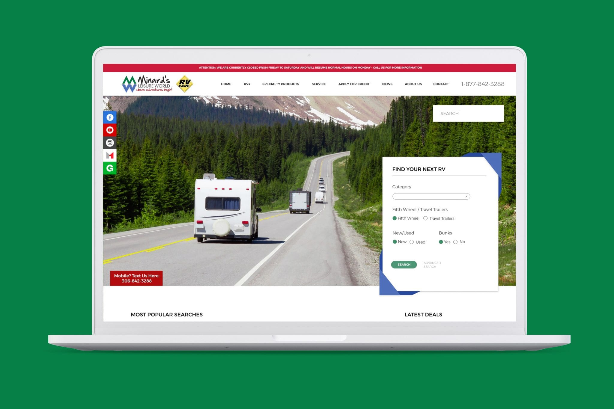 Minards RV Website mockup