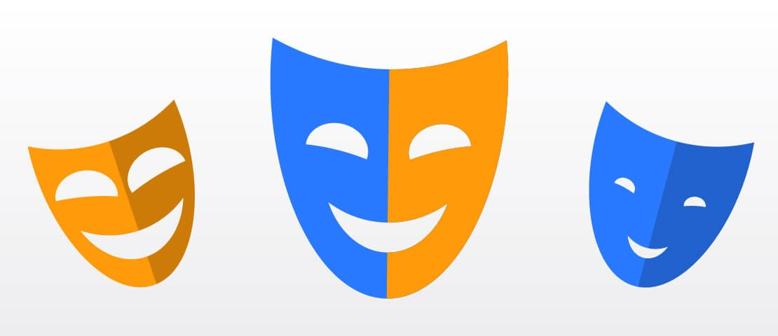 Faces Masks responsive web design blue orange