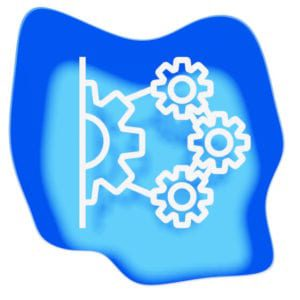 Integrations integrating gears blue white papercut graphic