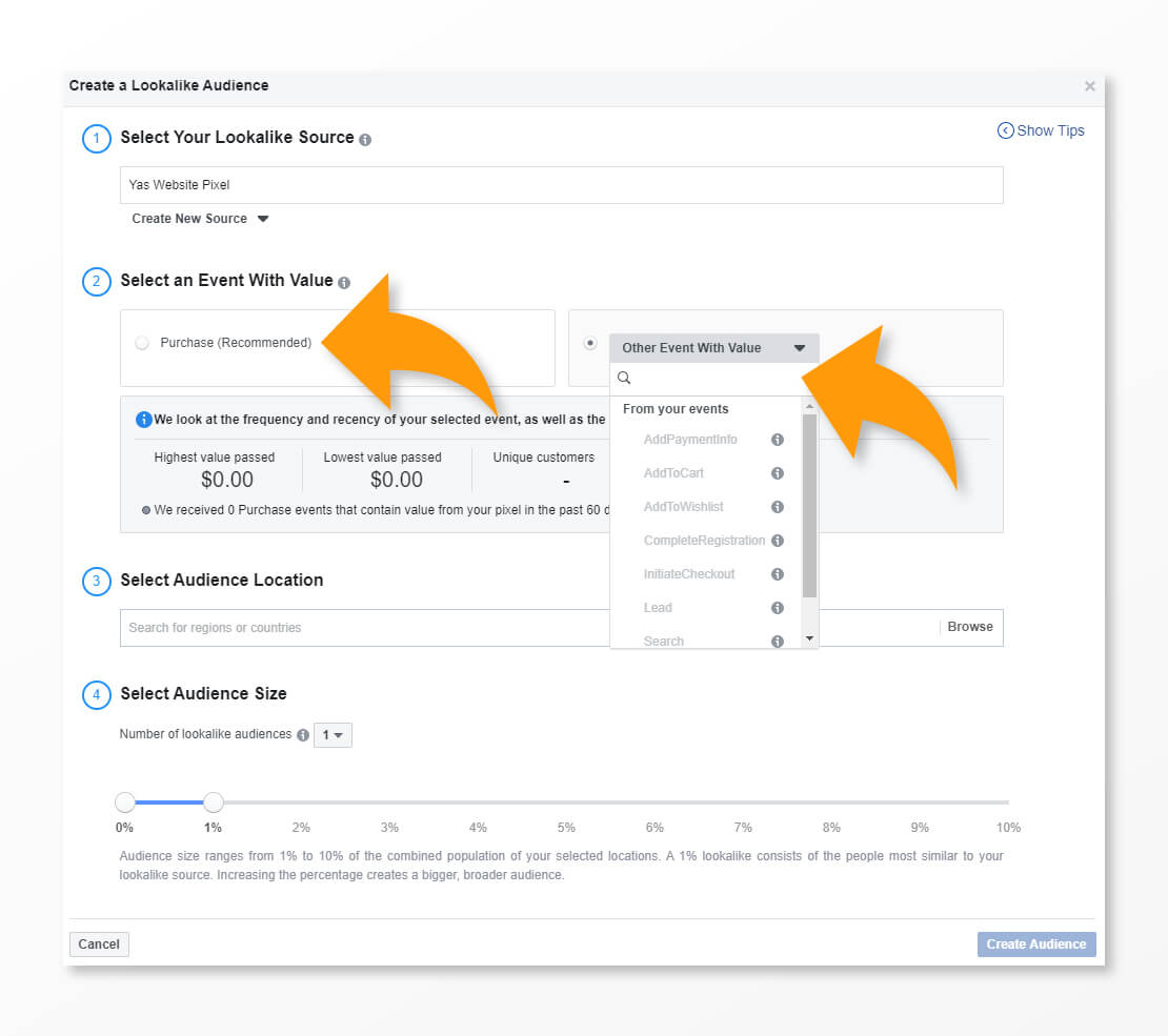 Lookalike Audience Facebook Guide Selecting Conversion Event