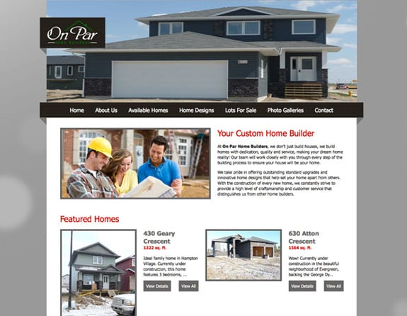 Redesign for On Par Home Builders