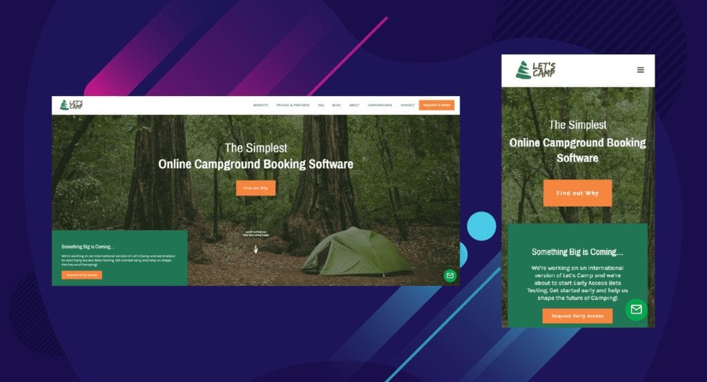 Example of Let's Camp web app desktop vs mobile