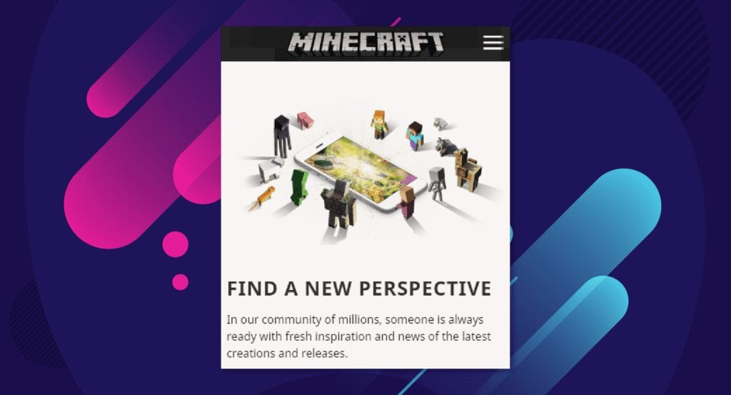 Example of minecraft sales page instead of web app