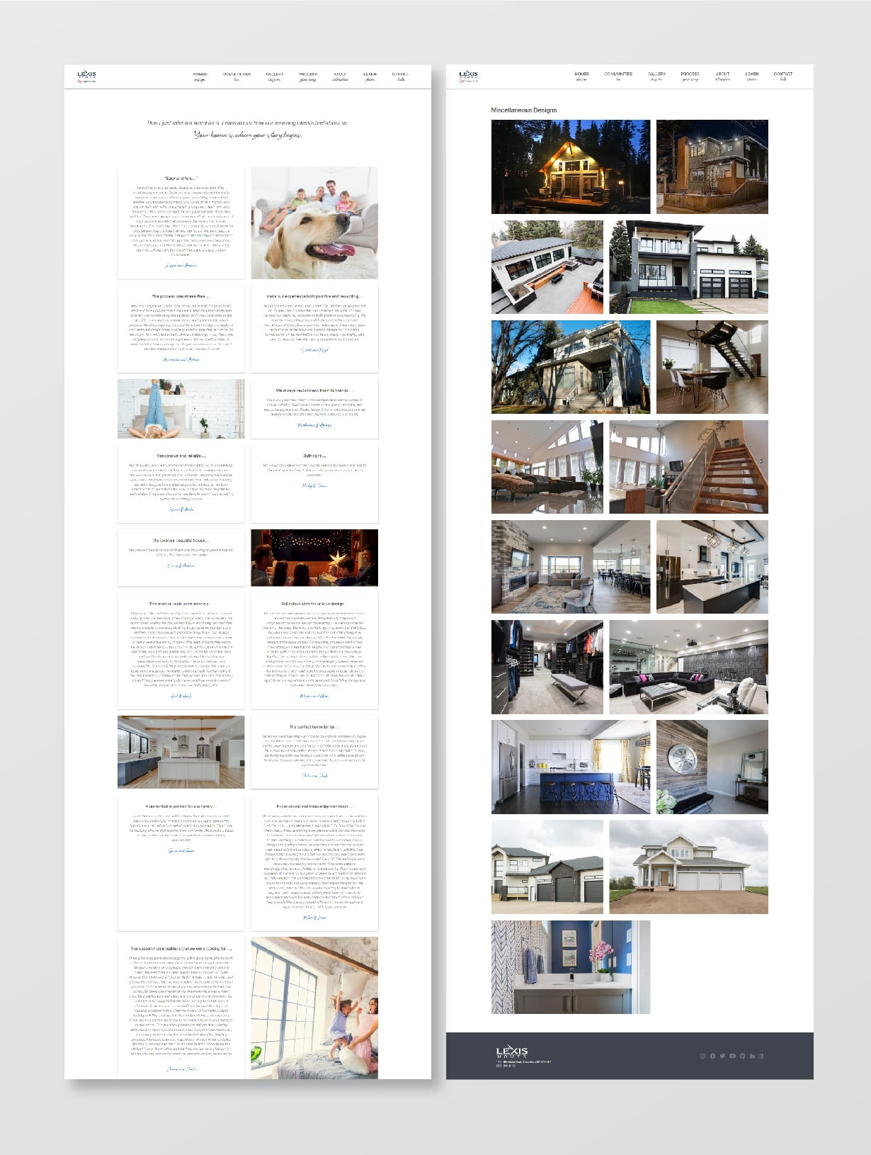 Lexis Homes Web Screens